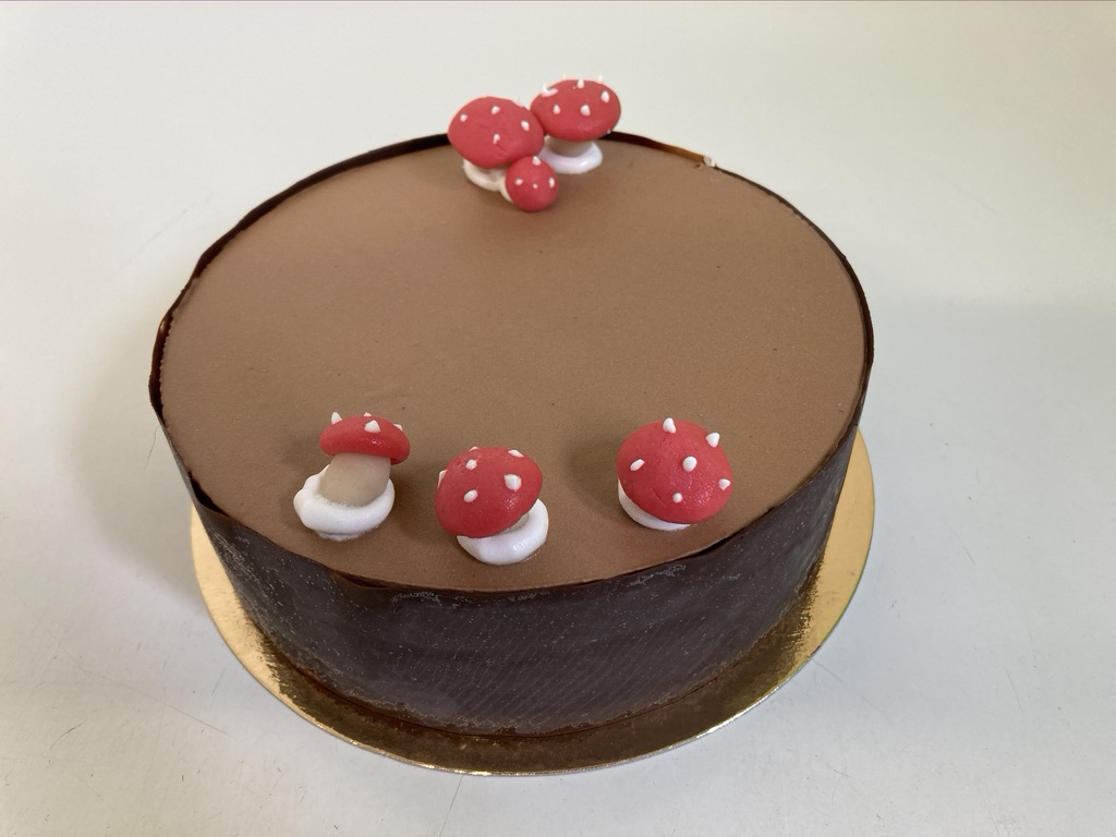 IJstaart straciatella - chocolade, chocolade afwerking rondom en paddestoelen in marsepein bovenop.